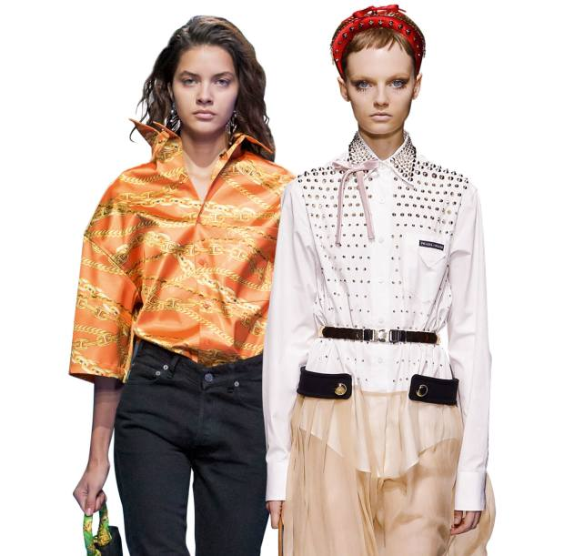 From left: Balenciaga satin shirt, £1,295. Prada poplin-cotton and chiffon shirtdress with metal studs and satin bow, £2,400