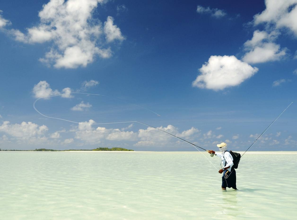Casting to a school of bonefish in St François Lagoon