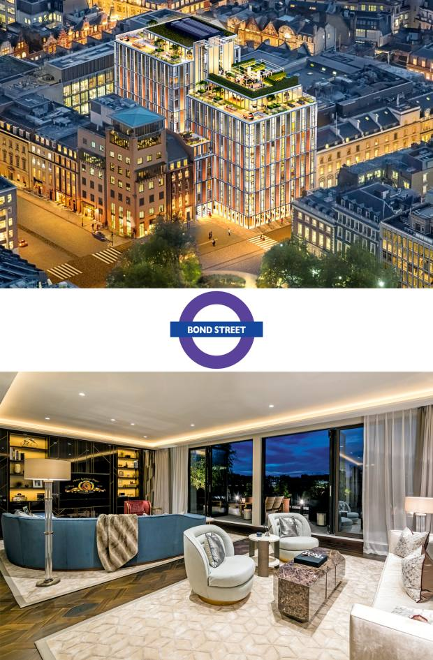 From top: prices at Mayfair's Hanover Bond, which is affiliated with a new Mandarin Oriental hotel, start from £1,999,000 for a studio. The five-bedroom penthouse at Greybrook House is available for £25m through Knight Frank and Wetherell