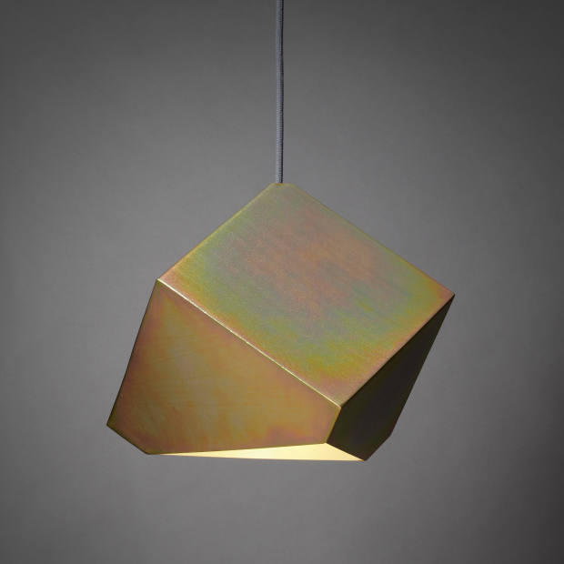 Bec Brittain for SCP steel Axial pendant finished in gold passivate, £300