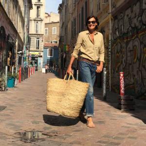 Inès de La Fressange shopping in Marseille last summer