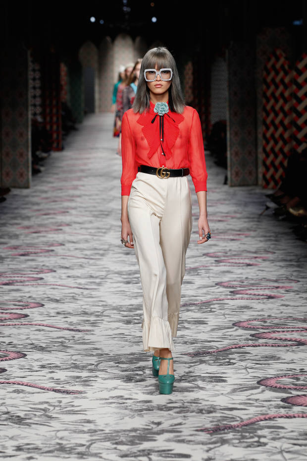 Chiffon-crepon shirt, £745, silk trousers, £600, leather shoes, £600, leather and brass belt, £270