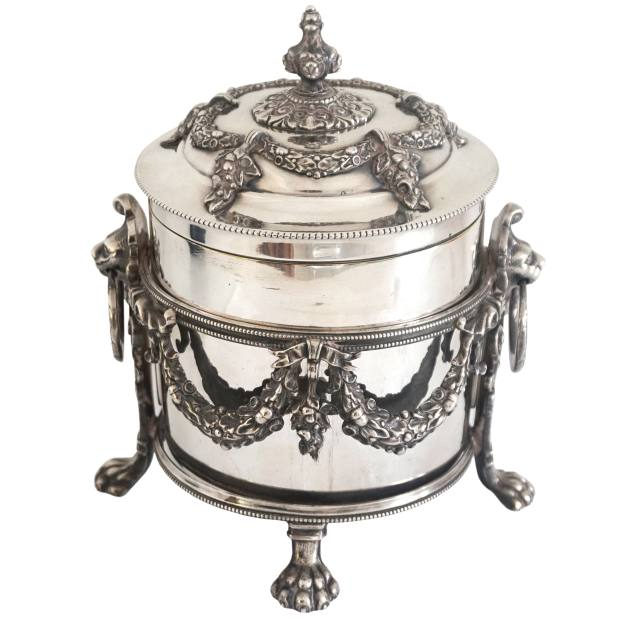 c1885 biscuit barrel by the Atkin Brothers, £345 from Goldsmith & Perris, Alfies Antique Market