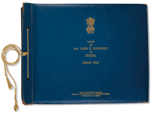 The cover of the Indian photo album is inscribed Visit of Mrs John F. Kennedy to India (March 1962)