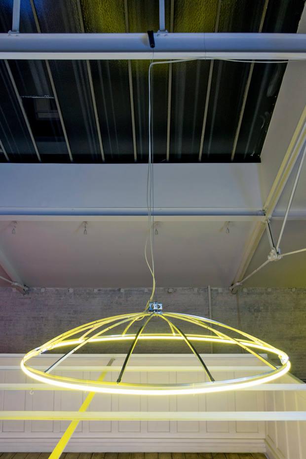 SpaceJunk iii, 2018, by Paul Kneale in steel, aluminium, neon and argon gas