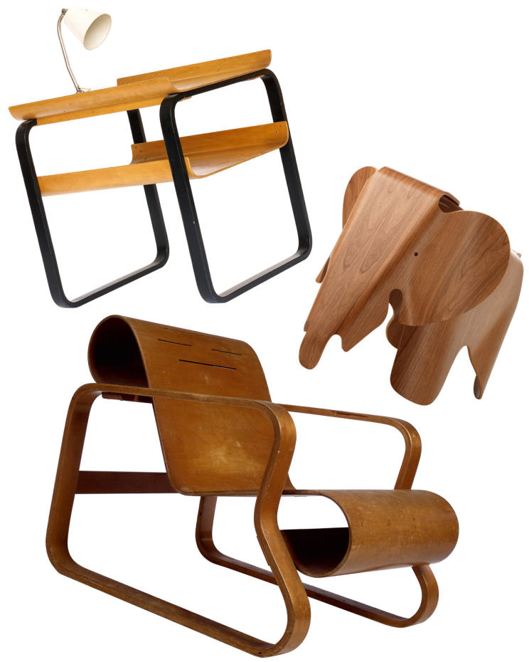 From top: Alvar Aalto Sanatorium table, £2,500 from TwentyTwentyOne. Elephant stool, €4,995 from Modern Vintage. 1930s birch Paimio chair, sold for £8,812 at Bonhams in 2004