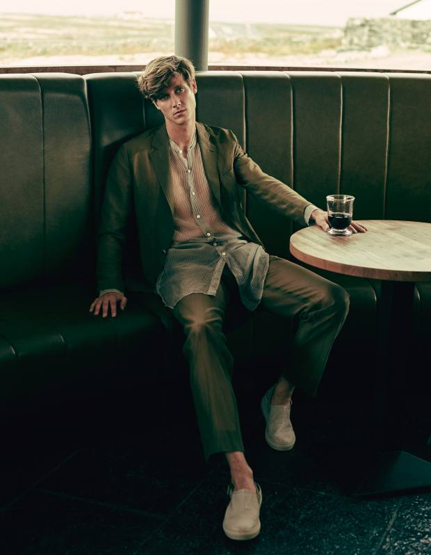 Hardy Amies mesh suit, from £650. Dries Van Noten silk Clynt shirt, about £300. Emporio Armani wool sabots