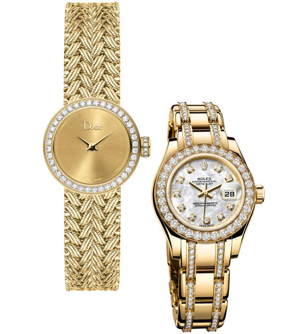 From left: Dior gold and diamond Mini D de Dior Satine Tressée watch, £25,600. Rolex gold, diamond and mother-of-pearl Pearlmaster watch, £34,900