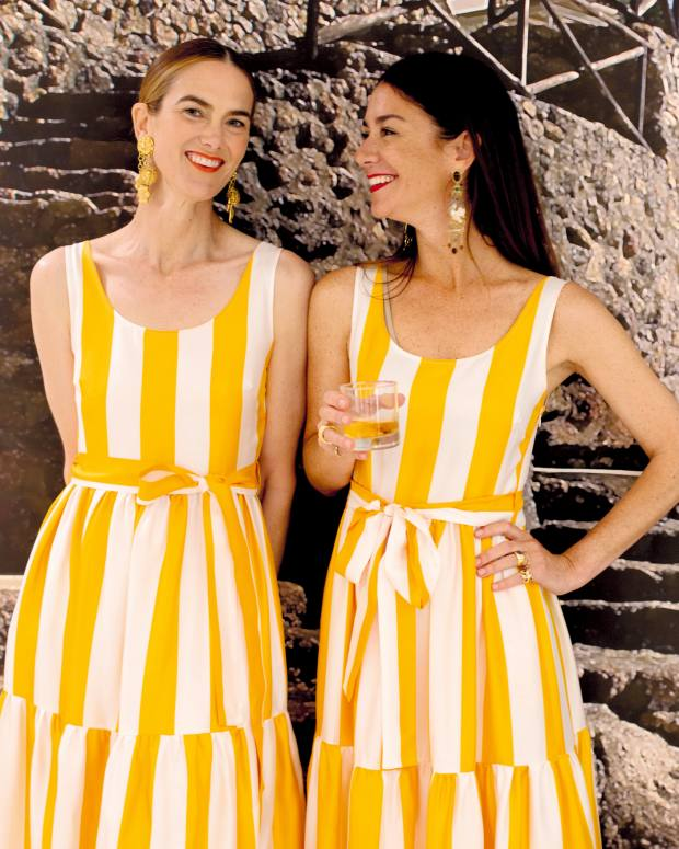 IlPellicano creative director Marie-Louise Sciò (right) and JJ Martin in La DoubleJ silk dresses, £665, inspired by the hotel's beach club towels (below)