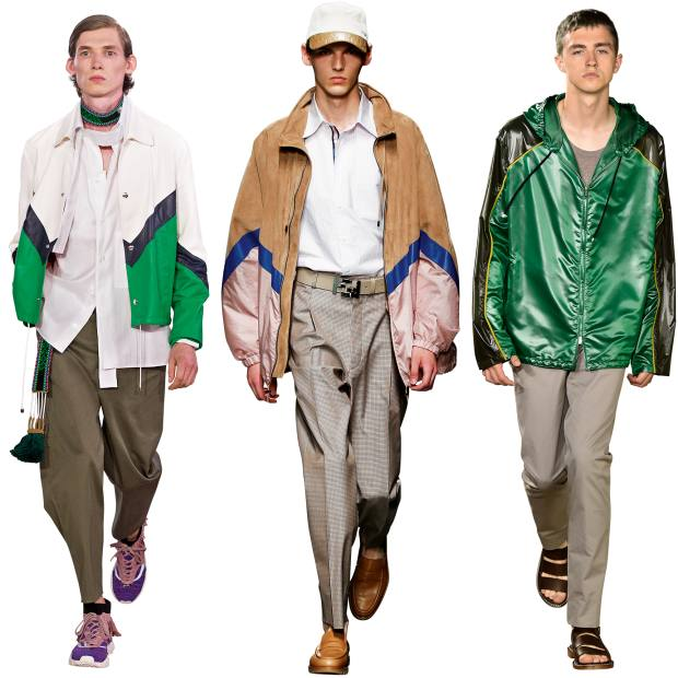 From left: Valentino leather jacket, £2,150. Fendi lambskin/goat leather parka, £2,670. Hermès Toilbright blouson, £2,110