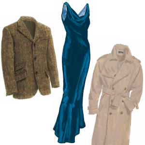From left: wool Harris tweed jacket, $698. Velvet evening dress, $279. Cotton English-style trench coat, $375