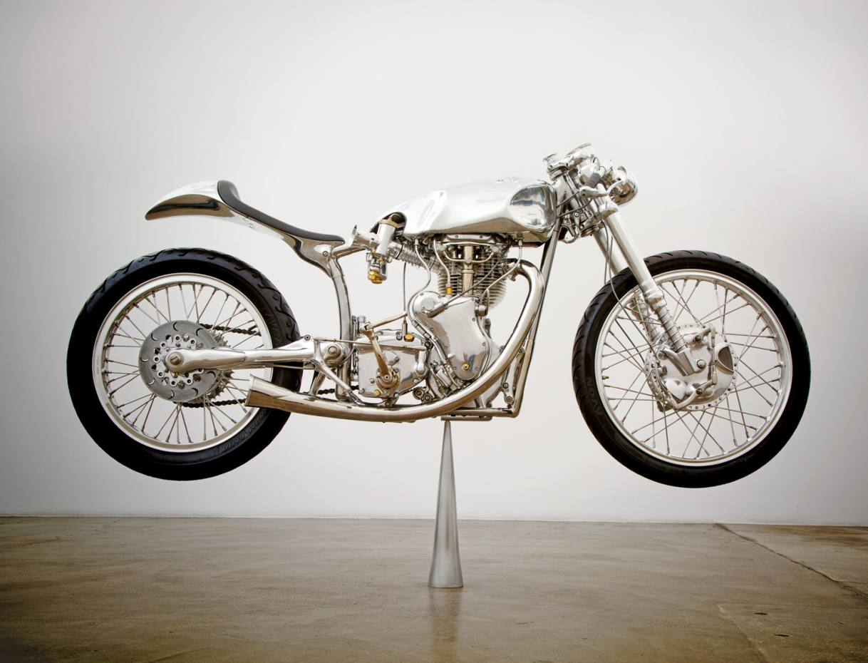 The White motorcycle, built by Los Angeles-based Ian Barry of Falcon Motorcycles, $750,000