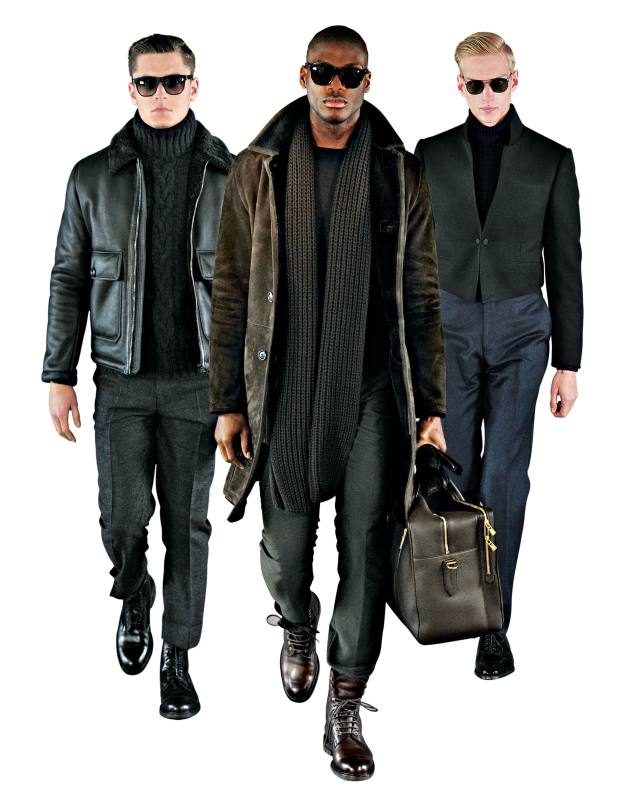 From left: autumn/winter 2014 shearling jacket, £2,895, cashmere turtle neck, £1,295, wool trousers, £195, and leather boots, £495. Shearling coat, £3,495, wool crewneck, £145, cotton chinos, £175, wool scarf, £195, leather holdall, £1,995 and shearling boots, £550. Wool bespoke jacket, from £3,250, wool turtle neck, £250, wool trousers, £895 for suit, and patent Oxford shoes, £395