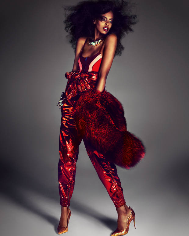 Adrienne Landau by Saulo Villela faux-fur stole, about £218, made to order. Isabel Marant polyamide/elastane bodysuit, £320, and silk jumpsuit, £1,010. James Chan leather pumps, about £170. Patricia Von Musulin hand-forged sterling silver Wing necklace, about £4,950, and sterling silver Architectural cuffs, about £3,531 each