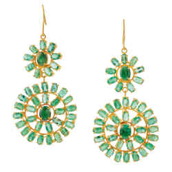 Pippa Small and Turquoise Mountain (www.turquoise mountain.org) 22ct gold and emerald Malika earrings, £5,100. www.pippasmall.com