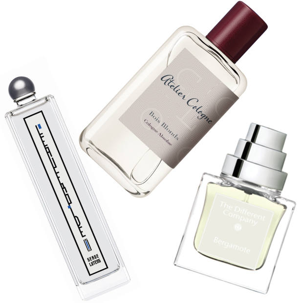 Serge Lutens L'Eau Froide (€78 for 50ml EDP), Atelier Cologne's Bois Blonds (£115 for 100ml Cologne Absolue) and The Different Company Bergamote (€99 for 50ml EDT)