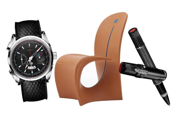 From left: Bugatti x Parmigiani Fleurier titanium Aérolithe Performance watch on calfskin strap, $22,900. Bugatti x Luxury Living Group carbon-fibre and leather Cobra chair, €9,870. Bugatti x Montegrappa carbon-fibre and aluminium Chiron rollerball pen, €3,100