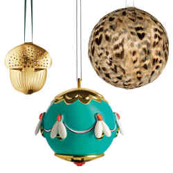 From top: Alessi Ape dell'oro bauble, £26. George Jensen acorn, £35 for a pair. Reiko Kaneko Christmas bauble, from £17.50