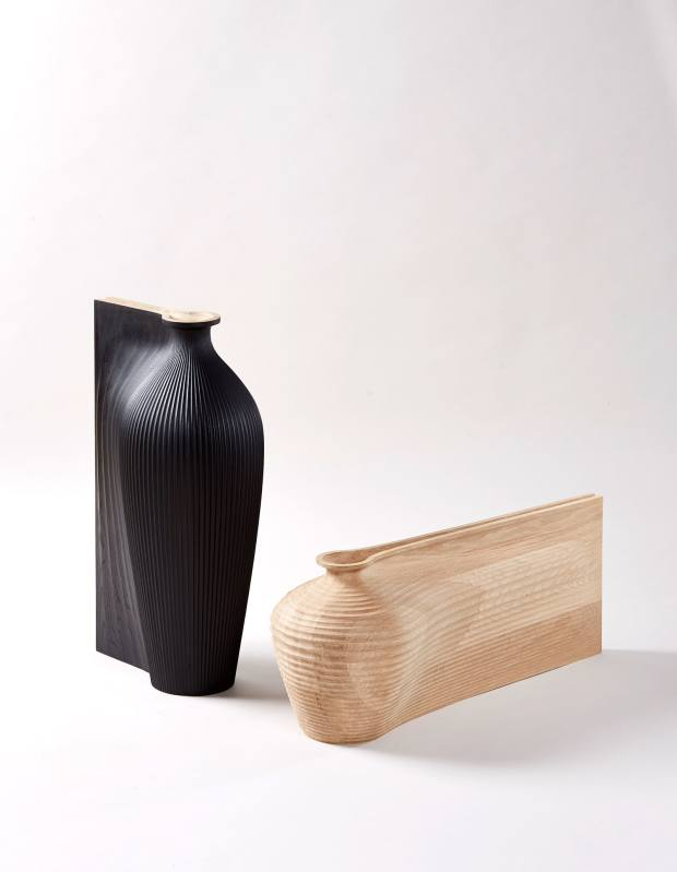 Sculptural Ve-Sel vessels, price on request, through Sarah Myerscough
