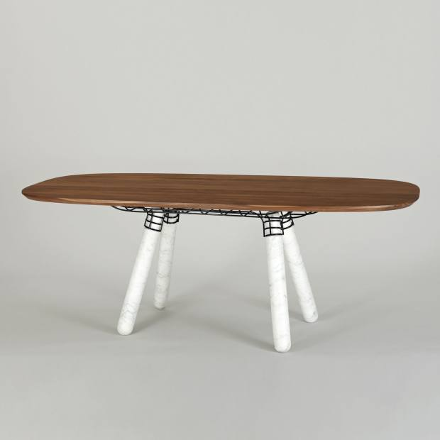 Magnum table by Pierre Favresse with Carrara marble legs from La Chance, €6,300