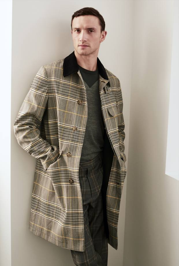 Wool coat, £1,425, cotton jumper, £395, and cotton trousers, £380