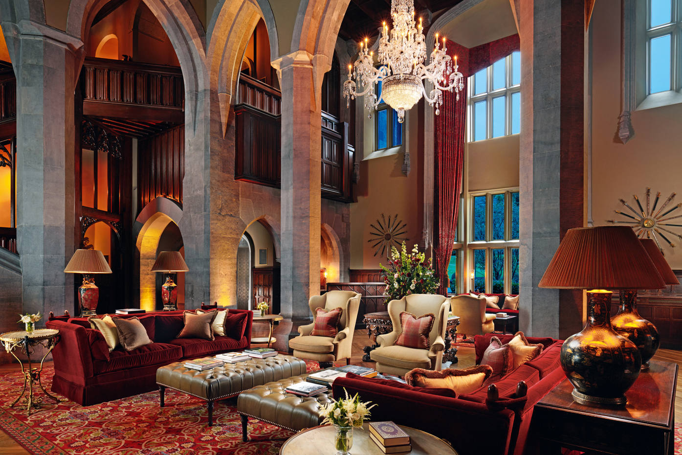 The Great Hall atAdareManor in CountyLimerick, whichabounds with reproduction furniture