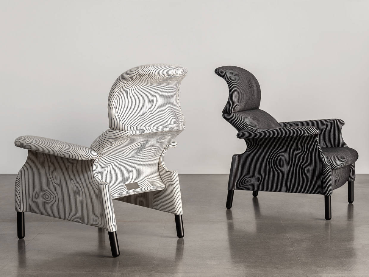 Poltrona Frau has released a limited edition collection of Sanluca chairs, £3,750, which are upholstered in a bespoke fabric featuring a Max Huber drawing
