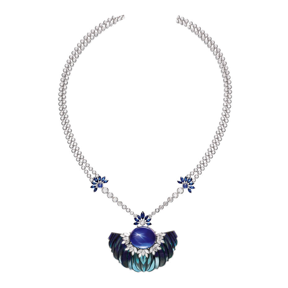 Piaget white gold, diamond, sapphire and feather Sunlight Journey pendant, price on request