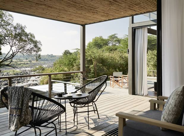 The Geoffrey Kent Suite at Sanctuary Olonana - enjoy views over the Mara River from luxurious suites