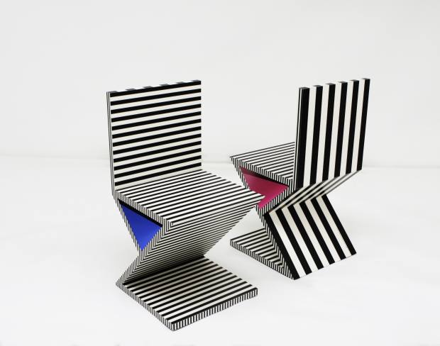 Kelly Behun's graphic Neo Laminate No 34 chairs, $4,950 each