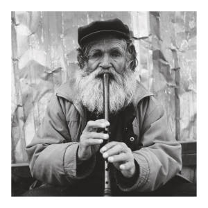 A recorder player in Beyoglu, Istanbul. Taken by the author using a Rolleicord