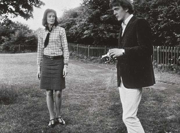 Style inspiration from David Hemmings wearing white denim in the 1966 Antonioni film Blow-Up.