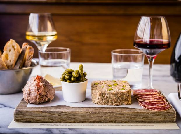 A selection of charcuterie at Terroirs wine bar in Charing Cross, including its homemade pork and pistachio terrine
