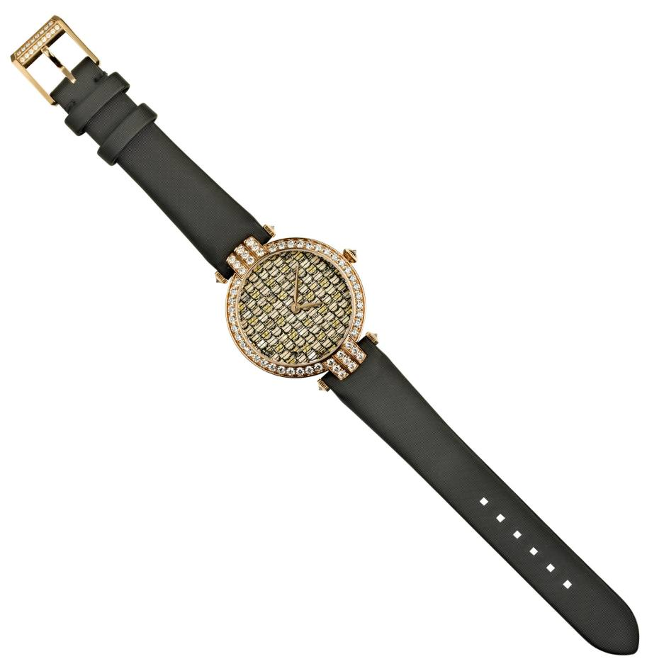 Harry Winston rose gold, diamond, mother-of-pearl, silk thread and silver leaf Premier Precious Weaving automatic watch on satin strap, £27,600