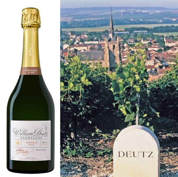 From left: Deutz Hommage à William Deutz 2010 Parcelles d'Aÿ, £95. Deutz's La Côte Glacière vineyard is nestled behind the family house in Aÿ