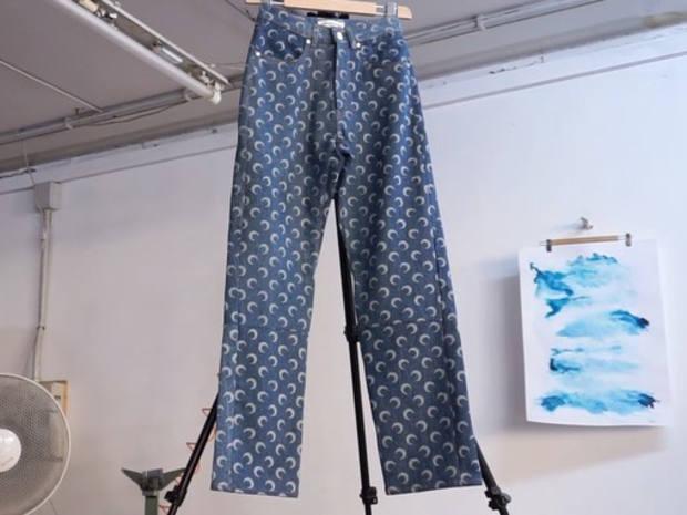Marine Serre uses regenerated denim to create its moon-printed jeans