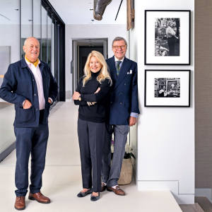 Gallerist Peter Fetterman (left) with Jay and Deanie Stein at their home in Beverly Hills
