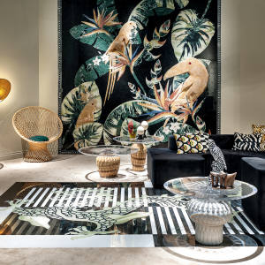 Citco Privé's marble and onyx Samia wallcovering, £163,900, depicting a tropical forest, is part of the Italian marble specialist's new range of jungle-inspired furnishings