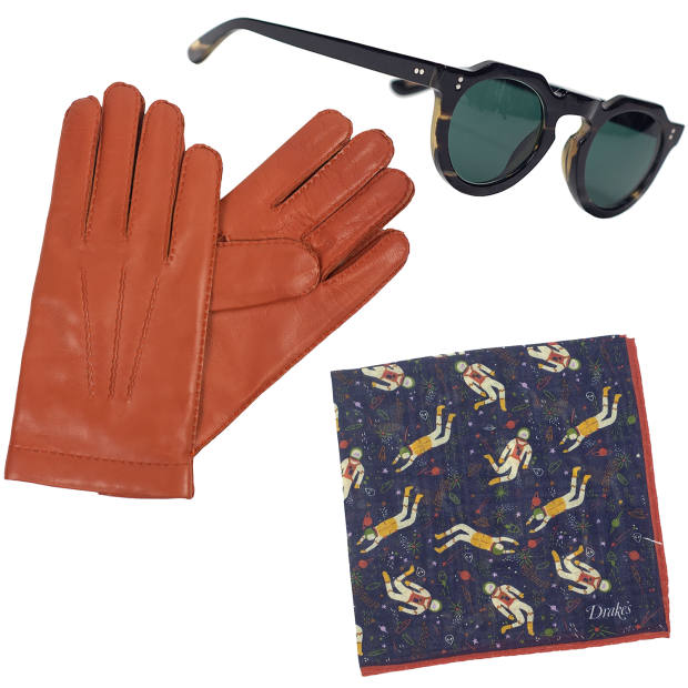 Clockwise from left: Merola cashmere-lined lambskin gloves, $145. Lesca horn Pica sunglasses, $495. Drake's wool-silk pocket square, $75