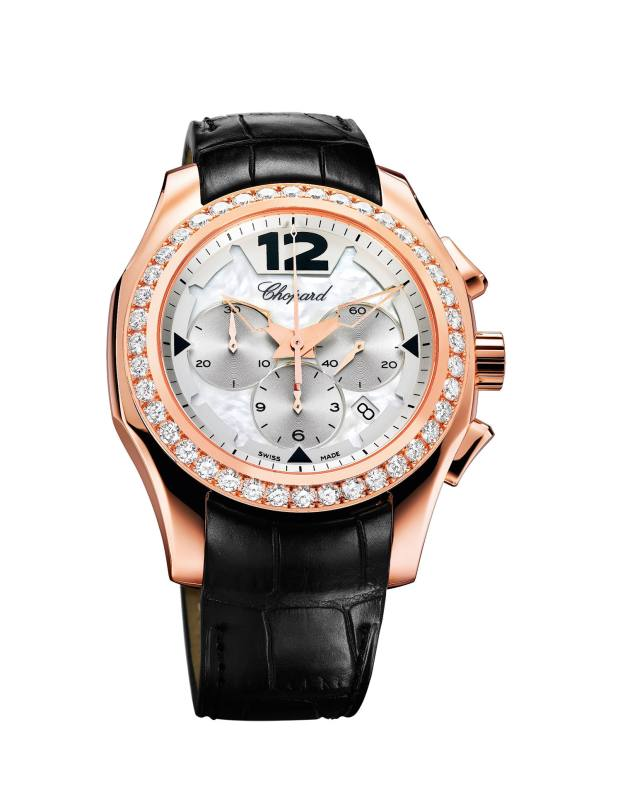 Chopard rose gold, mother-of-pearl and diamond Elton John watch, £28,900