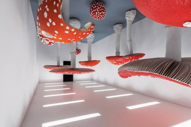 Carsten Höller's Upside Down Mushroom Room on display at Fondazione Prada