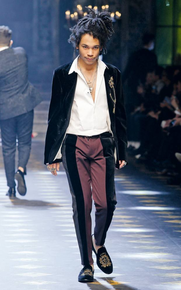 Dolce & Gabbana velvet and cotton jacket, £1,800, velvet and cotton trousers, £550, and embroidered velvet shoes, £1,335