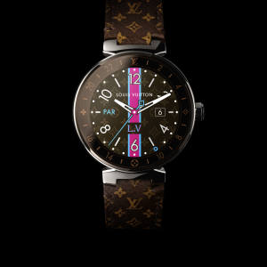 LouisVuitton stainless-steelTambour Horizon smartwatch on a leather strap, £2,600