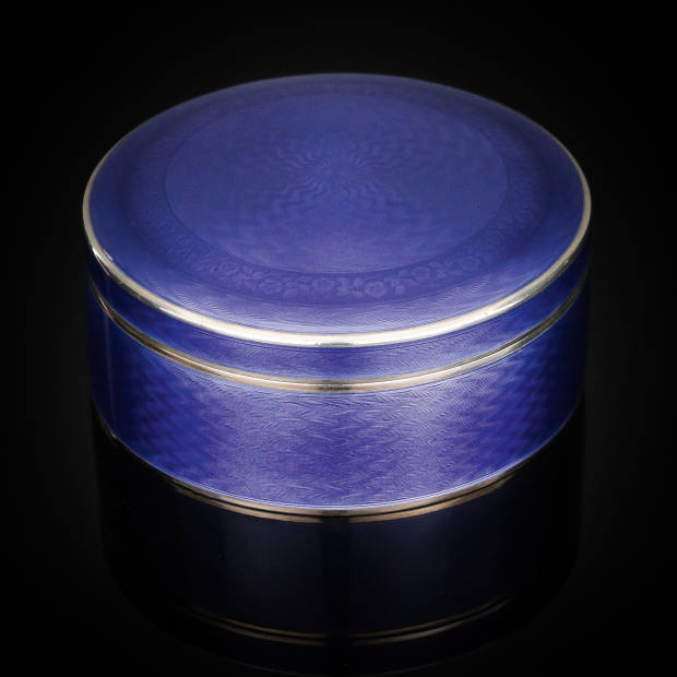 c1920 silver and guilloché enamel box, £1,395 from Pushkin Antiques