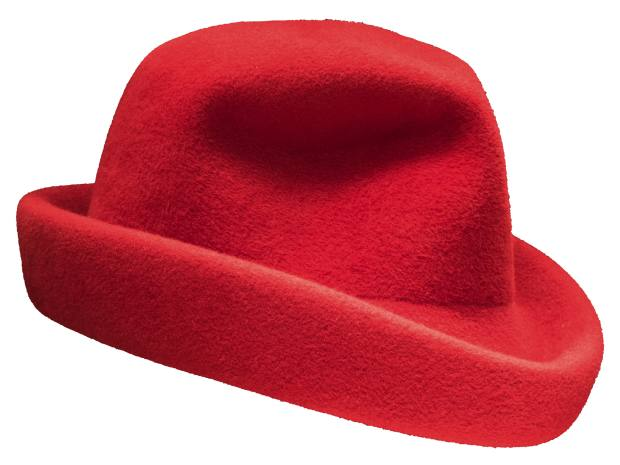 Hats like this trilby-type shape crafted from rabbit felt in Italy, $895, are part and parcel of the Kos look