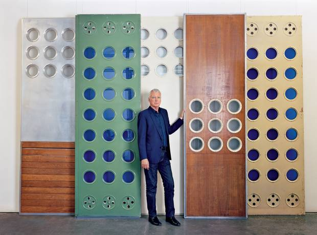 Patrick Seguin with Jean Prouvé panels in Mayfair's Gagosian Gallery