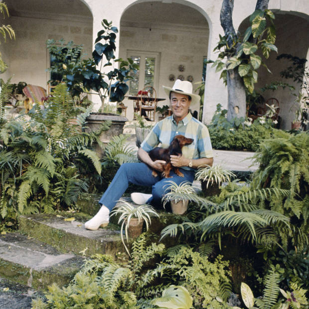 Designer Oliver Messel at Maddox, his home on Barbados in 1967
