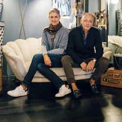 Daria Reina and Andrea Ferolla in their Chez Dédé showroom in Rome