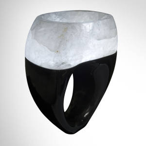 Engaged illuminated basin in rock crystal and Belgian black marble