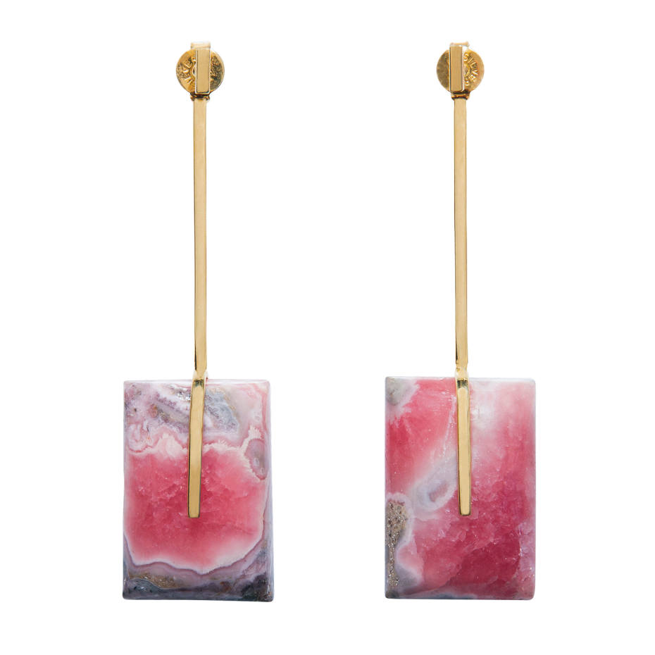 Tada & Toy gold and rhodochrosite Aerial Earth Drops earrings, £190